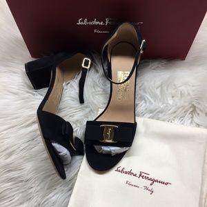 Salvatore Ferragamo Black Heeled Sandals 7M